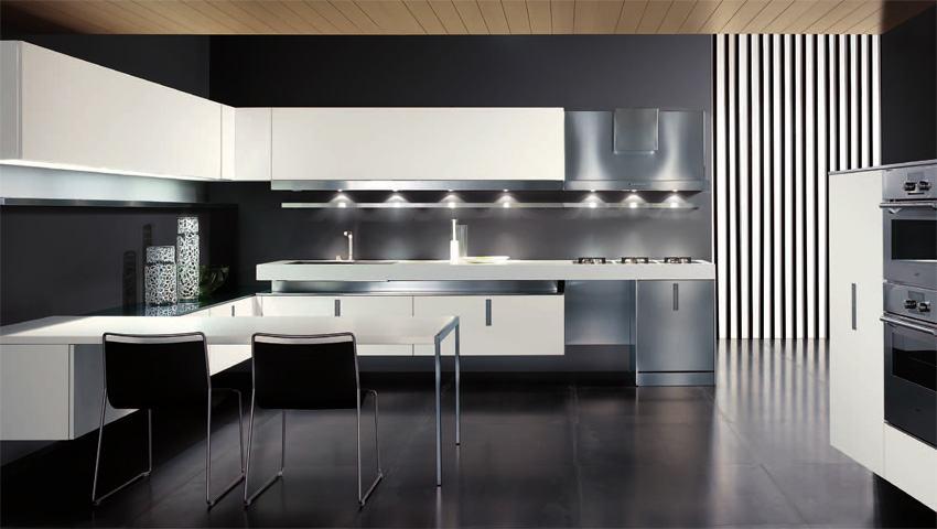 освещение на кухне в стиле хай-тек