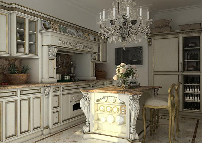 рожковая люстра на кухне