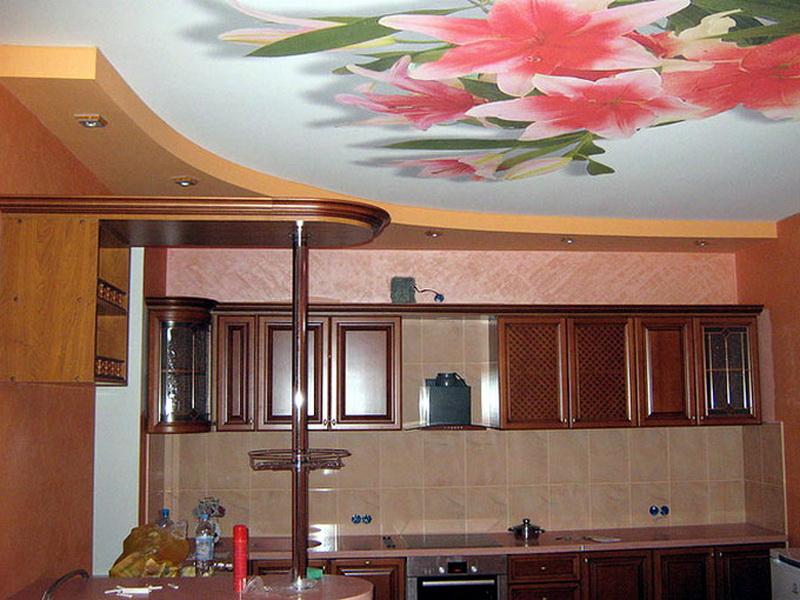 Натяжные потолки на кухне с фотопечатью