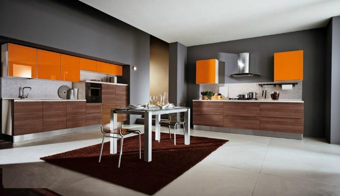 кухни в оранжево-сером цвете