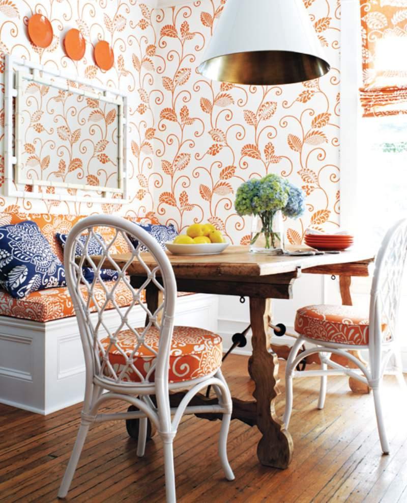 на кухне оранжевая мебель