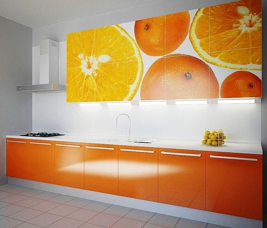 оранжевая кухня с фотопечатью