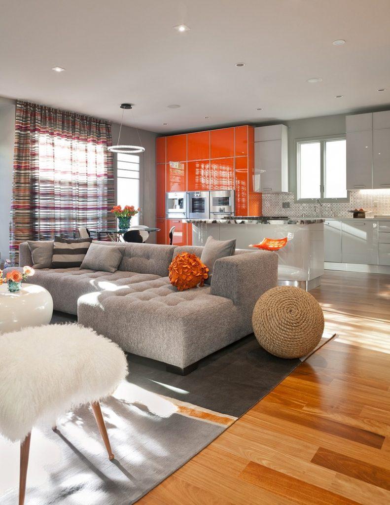 оранжевый кухонный гарнитур