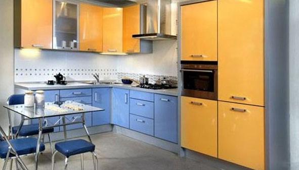 сине оранжевая кухня