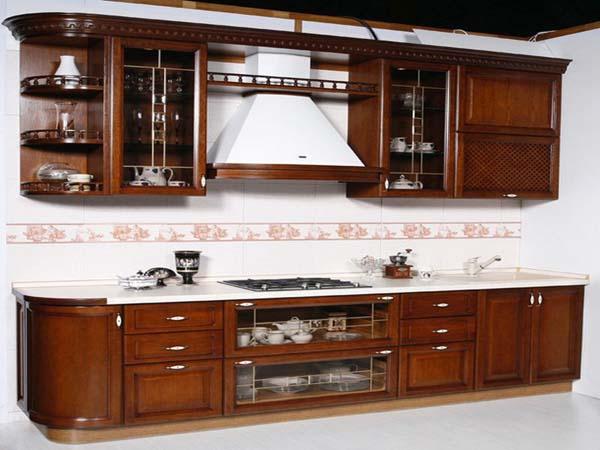 деревянная прямая кухня 3 метра