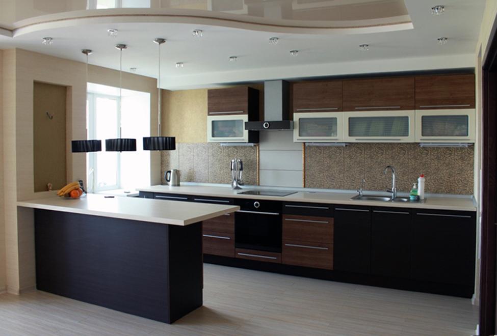 современный гарнитур на кухне 3 метра