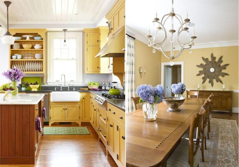 жёлтый гарнитур в интерьере кухни