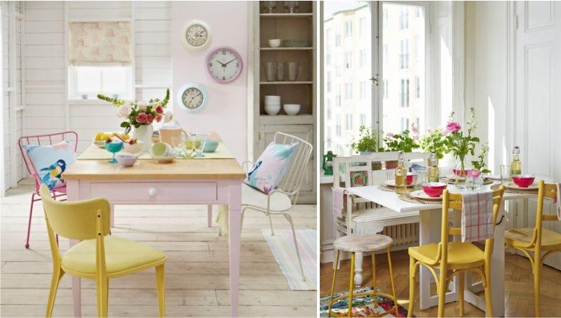 жёлтый с розовым на белой кухне