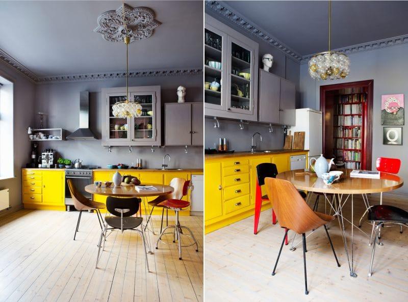 жёлтая кухня с серым